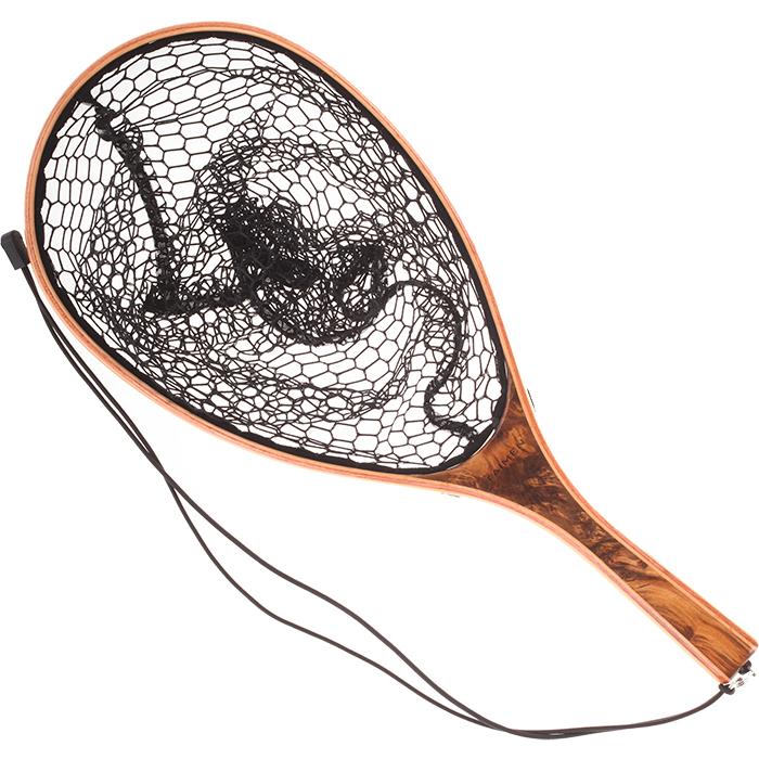 Taimen burled wood landing net rsc fly fishing for Wooden fishing net