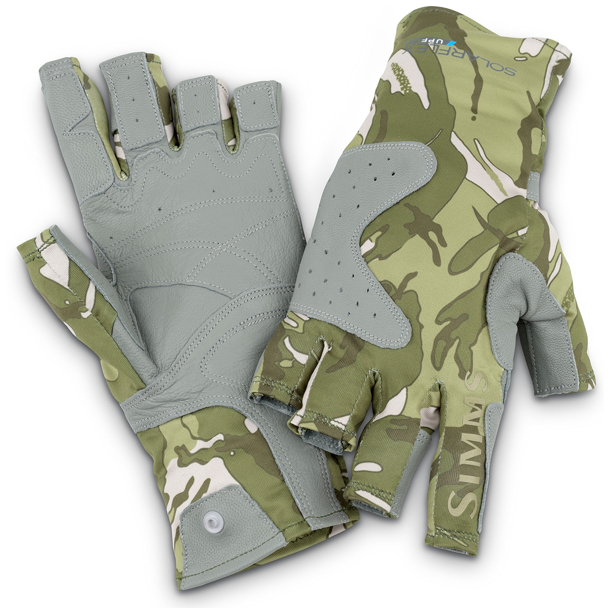 Simms solarflex guide glove riffle camo fly fishing socks for Fly fishing gloves