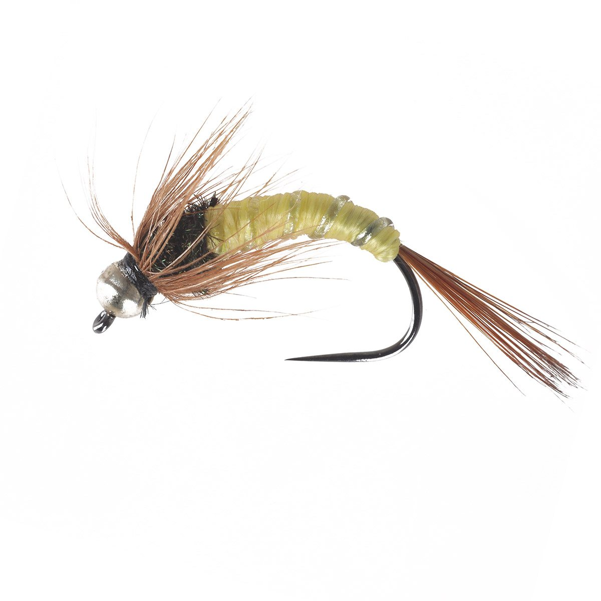 PL Tungsten BH Hackle Ribbied Yellow