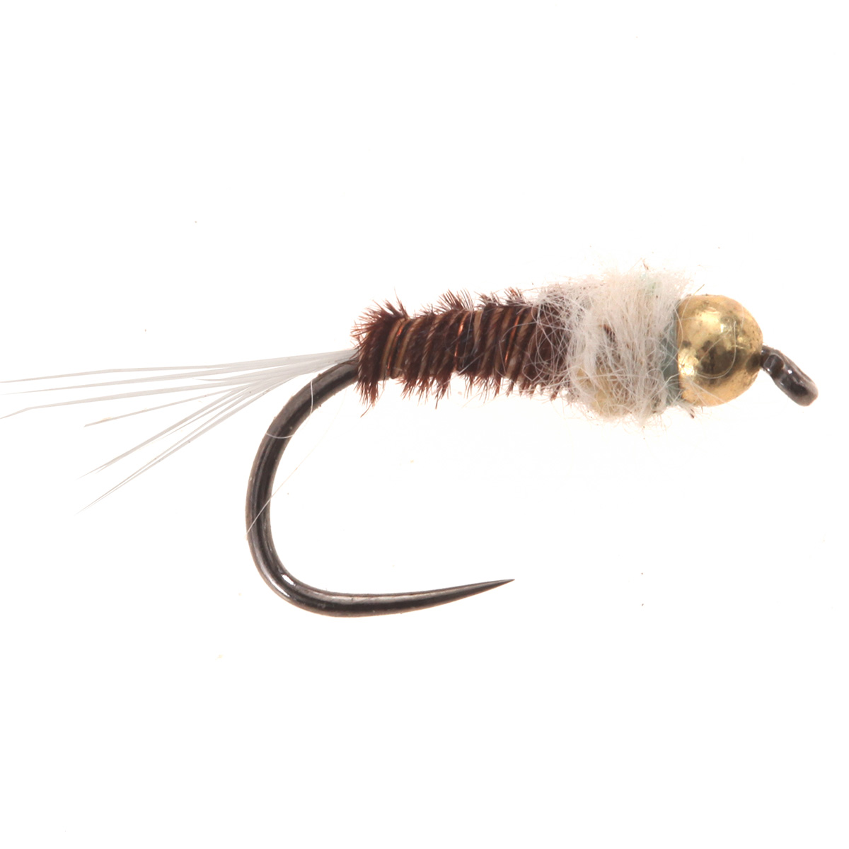 Tungsten BH Micro Nymph Claret white tail #16
