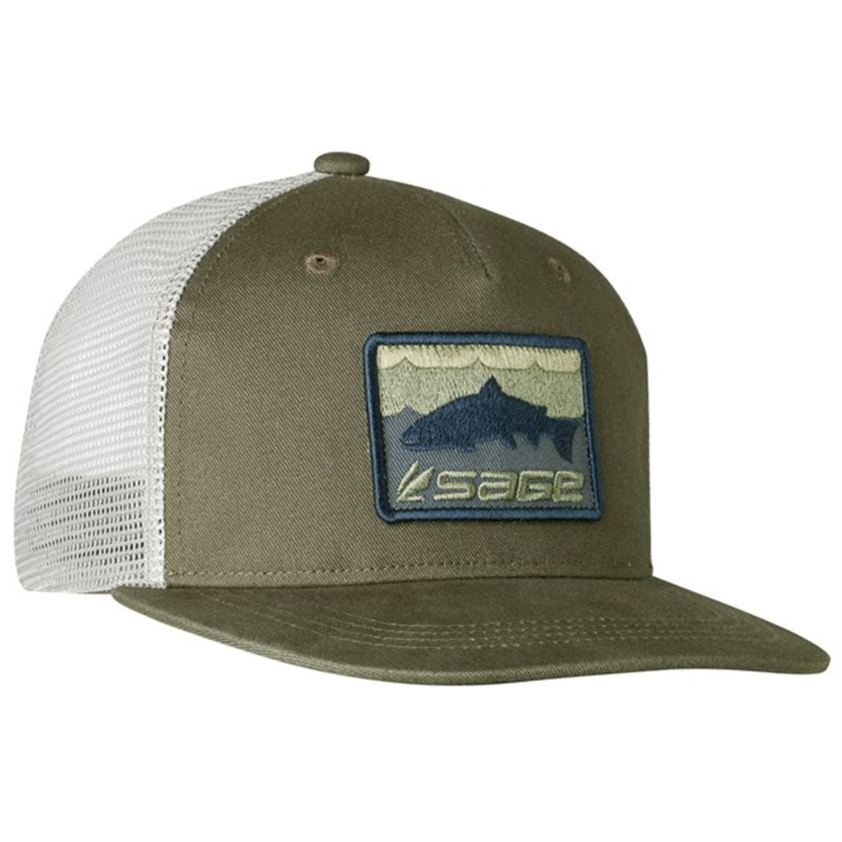Sage patch trucker fishing caps taimen for Sage fly fishing hat