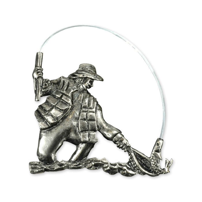 Fishing Hat Pins: Pewter Silver Hat Pin - (Fishing Gadgets)